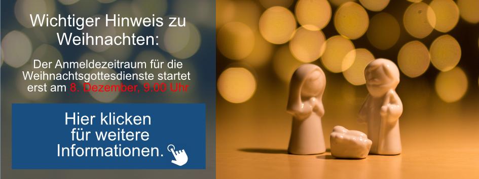 Weihnachtsgottesdienste - Anmeldung ab dem 8. Dezember möglich